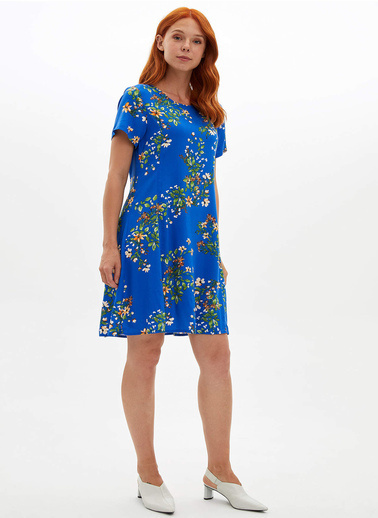 DeFacto Çiçekli Dokuma Elbise Mavi